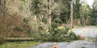 downed hydro lines in rural area